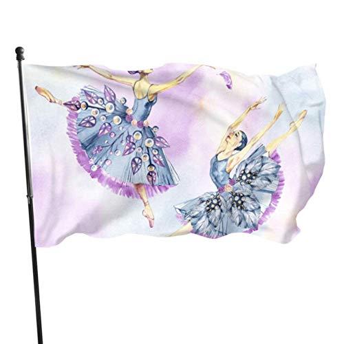 GOSMAO Bandera de jardín Bailarina Linda Bailes Color Vivo y Resistente a la decoloración UV Bandera de Patio de Doble Costura Bandera de Temporada Bandera de Pared 150X90cm