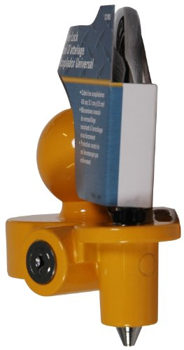 REESE Towpower 72783 Coupler Lock, Adjustable Storage Security, Heavy-Duty Steel, Yellow and Chrome