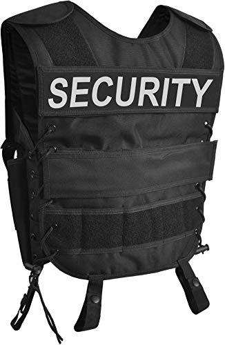 normani Taktische SWAT Weste mit Pistolenholster und abnehmbarem Schriftzug auf dem Rücken Farbe Security Größe M/L
