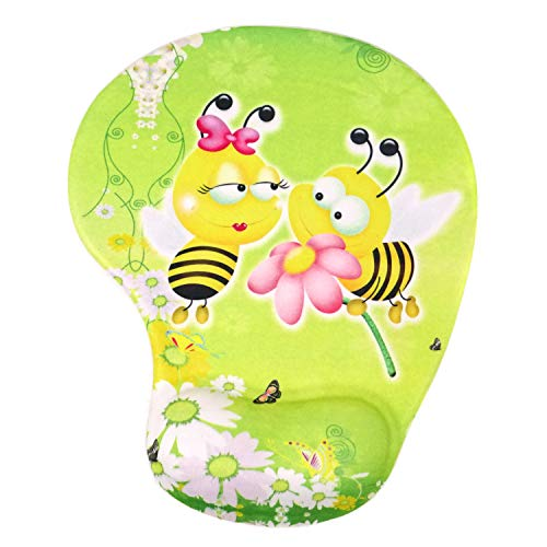 Honbay Cute Cartoon Mouse Mat Non-Slip Mouse Pad with Gel Wrist Support (Bee)