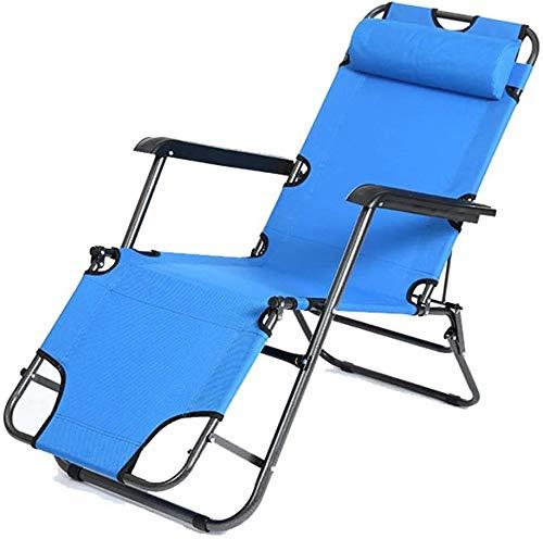 LJYHJ Silla Plegable Silla de Playa del Sol Patio con jardín Acampar al Aire Libre Plegable Silla de Gravedad Cero portátil de casa Silla de Comedor,Blue