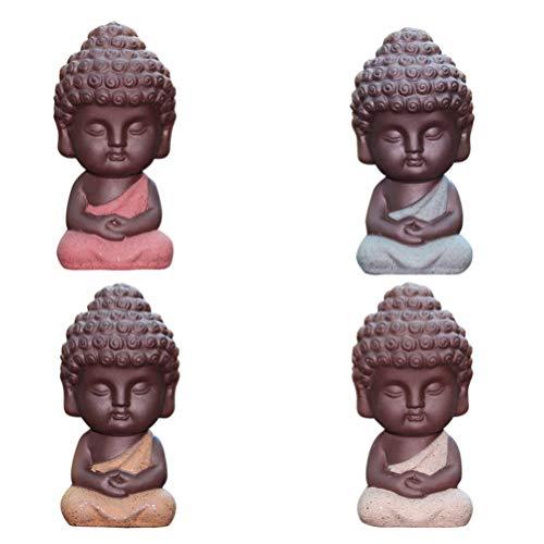 VORCOOL 4 Piezas Mini Arena Púrpura Maitreya Ceremonia de Té Decoración Mejor Regalo Chino para Amigos y Familiares Colegas (Colores Aleatorios)