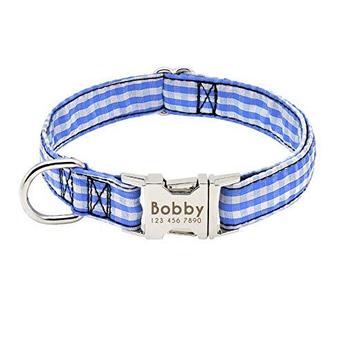 Collar de perro de perro de nylon collar collar Identificación Personazlied collares de perro personalizada tela escocesa del animal doméstico for los pequeños perros medianos gratuito Grabado Nombre