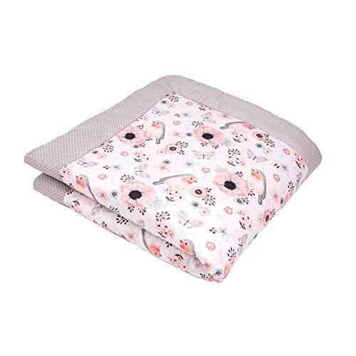 SWADDYL ® Baby Krabbeldecke Rosa Vögel - Kuscheldecke, Spieldecke, Laufgittereinlage 100x100 groß gepolstert