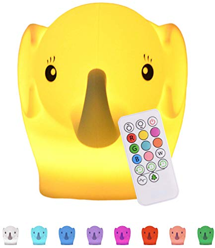 Baby Night Light for Kids Room: LED Kids Night Light Baby Lamp for Nursery | Baby Elephant Lamp & Remote | 9 MultiColor Changing LED Elephant Lights | Miffy Lamp for Nursery | Silicone Night Light Kid