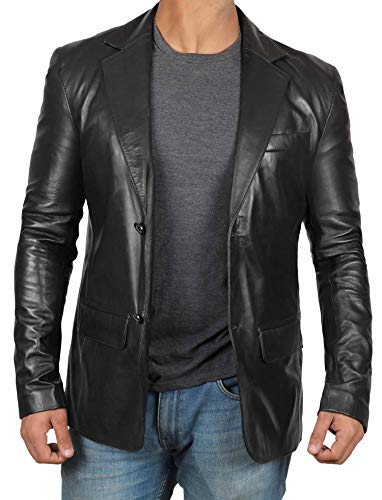 Black Mens Leather Jacket - 2 Button Black Blazer for Men Leather Jacket Men [1500563] | Blazer, M