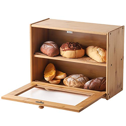 Green kitchen Extra Large Double Compartment Bread Box: Bamboo BreadBox w/Clear Windows- Rustic Farmhouse Style Bread Holder for Kitchen Countertop - Double Layer Bread Storage(Self-assembly)