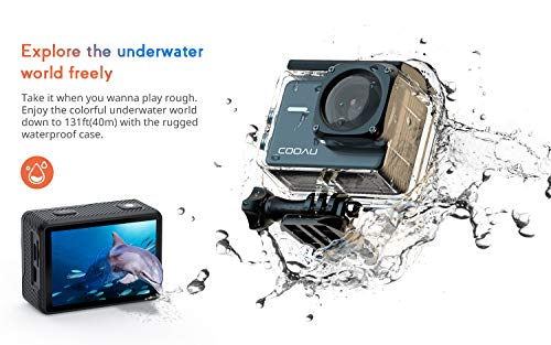 COOAU Native 4K 60fps 20MP Wi-Fi Action Sports Camera with 8XZoom Upgraded EIS Anti-Shake 40M Rugged Waterproof Underwater Case 170°Adjustable Wide Angle External Microphone 2x1350mAh Batteries