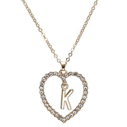 Halsketting, goudkleurig, zirkonia, liefde, hart, kristal, letter K