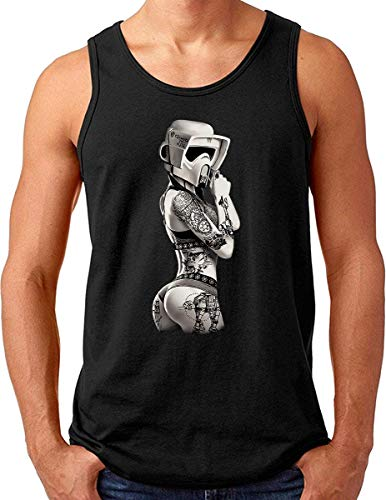 OM3® Tattoo-Trooper Tank Top Shirt | Herren | Sturmtruppen Ink Wars Film Fan SciFi Pin Up | Schwarz, XXL