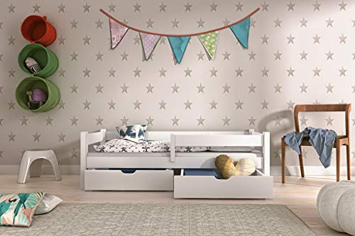 EVE kinderbed 100% massief hout wit grenen 160x80 180x80 200x90 twee laden lattenbodem 180x80 wit
