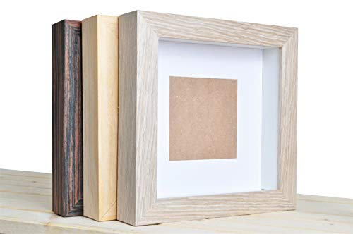 Demiriola' tiefer 3D BILDERRAHMEN | 25 x 25 x 4,8cm | Holz/Glas | 3 Varianten wählbar | Objektbilderrahmen zum Befüllen | Garantie | für Objekte | Schwarz - Natur - Grau (Grau - Beige)