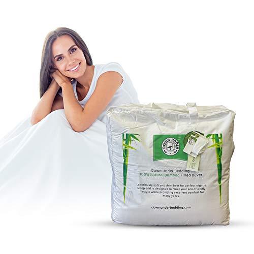DOWN UNDER Bettwäsche für Doppelbett, langer Strang, 100 prozent Bambusfaser gefüllt & Stoff, Ganzjahres-Bettdecke, 2-teiliges Set inkl. Aufbewahrungstasche, leicht, atmungsaktiv, Steppdecke mit 8 Bändern