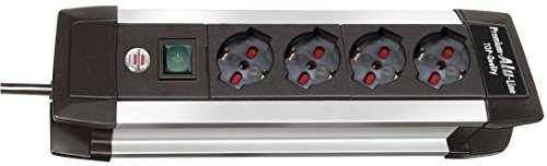 Brennenstuhl 1391005014 Multipresa,  serie Premium Alu Line,4 prese italiane (10/16A), bordi in alluminio, interruttore luminoso