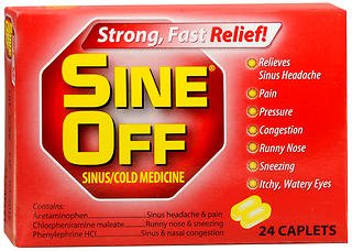 Sine-Off Sine-Off Sinus/Cold Medicine Caplets, 24 each (Pack of 3) by Plus Pharma Corporation