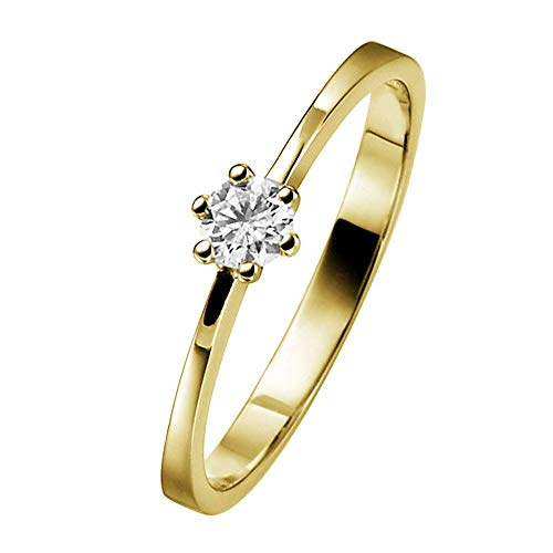 trendor Verlobungsring 585 Gold mit Diamant 0,10 ct 532467 Ringgröße 56/17,8