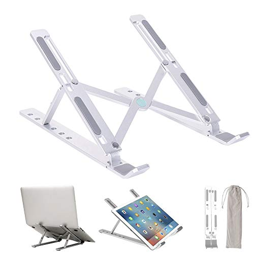 Hamnor Laptop Holder for 10-15.6 Inches Pad Laptop Notebook,6 Angles Adjust Laptop Holder Foldable Desk Computer Riser