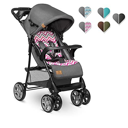 Lionelo Emma Plus Kinderwagen Kindersportwagen leicht modern klein Buggy mit Liegeposition zusammenklappbar (Pink Scandi)