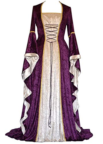 Womens Renaissance Medieval Costume Dress Lace up Irish Over Long Dresses Cosplay Retro Gown S-5XL (M, Purple)