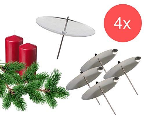 TK Gruppe Timo Klingler 4X Kandelaar Kandelaar Adventskrans Stekker Kandelaar voor adventskrans Kerstmis adventskranshouder met pin 4 x zilver.