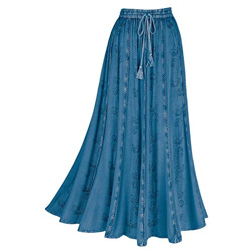 """Women's Boho Peasant Maxi Skirt -Over-Dyed with Elastic Waistband, Rayon 36"""" L - Denim - 3X"""