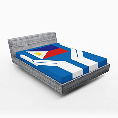 Ambesonne Filipino Fitted Sheet, 2 Hands Holding Showing Philippines National Flag Independant Country Concept, Bed Cover with All-Round Elastic Pocket for Comfort, California King, Multicolor