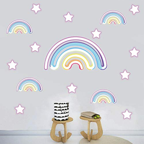 Cartoon Colorful Rainbow Star Wall Sticker Home Decor Paper For Boy Room Bedroom Background Decoration Wall Decal
