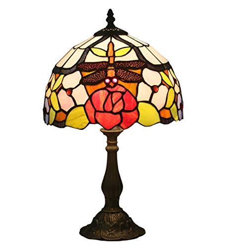 NANXCYR Vintage Tiffany Style Lámpara de Mesa de Mesa Manchada Crafted Dragonfly Rose Art Desk Desk Light Light Light 25 * 42cm, E27,Resin Base
