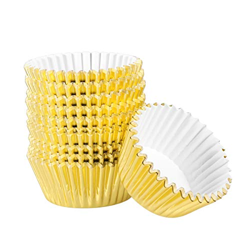 OUNONA 200pcs Muffinf?rmchen Aluminium-Folien Cupcake Form,Ideal f¨¹r Muffins und Cupcakes(goldenes)