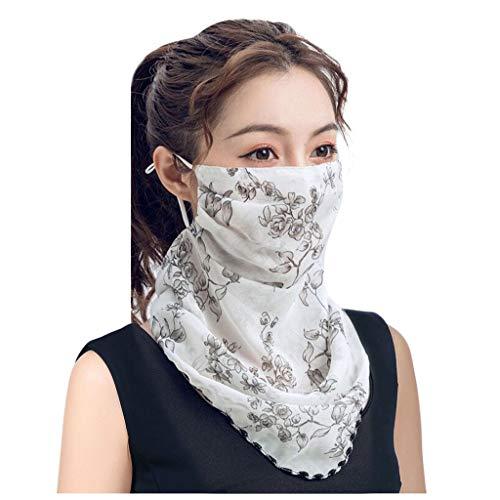 riou Damen Mundschutz Halstuch Multifunktionstuch Sommer UV-Schutz Atmungsakti Chiffon Tuch Schlauchtuch (Neu D)