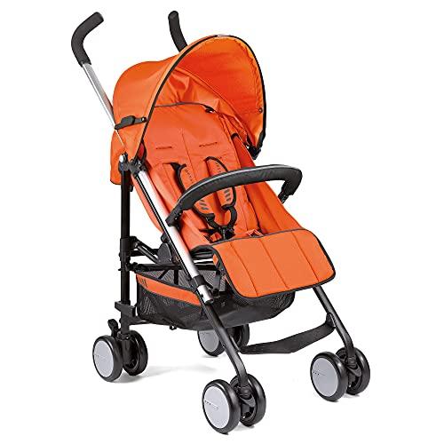 Gesslein Buggy S5 2x2 Design 390 Reisebuggy mit Liegefunktion, verlängerbares Sonnentop, sehr leicht, bis 25kg belastbar, mit Reflektoren, Schwenkräder, mango orange