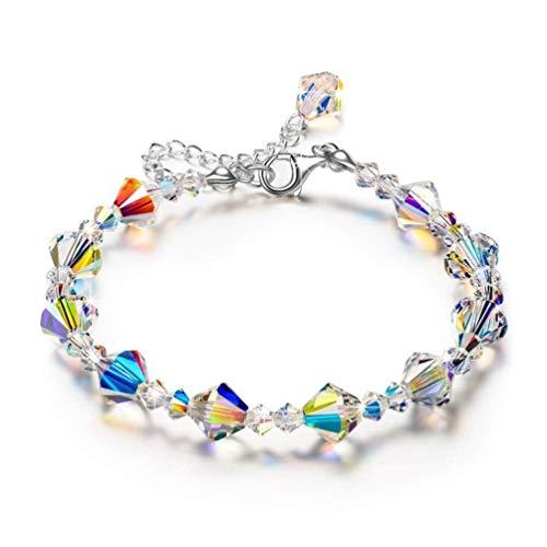 WANGCHENGLONG - Pulsera de cadena simple para regalo con piedra de cristal brillante, ideal para el día de San Valentín, día de la madre, nacimiento (color: B, tamaño: 17 cm)