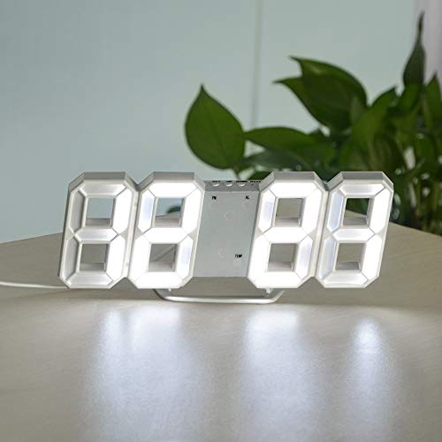 xingguang Reloj de pared 3D USB LED Digital Reloj de pared electrónico Mesa de escritorio Despertador de escritorio 12/24 horas Pantalla Decoración del hogar Despertar luces de noche (color blanco A)