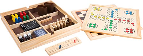 Bavaria-Home-Style-Collection- Holz-Spielesammlung Reise - Gesellschaftsspiele für die ganze Familie - Spiele Kassette aus Holz - Dame Schach Domino Karten Spiele UVM. - 9 in 1 Geschenk Ideen