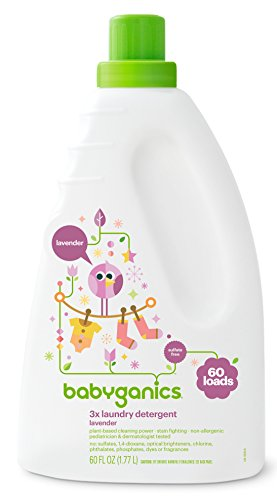 Babyganics 3X Baby Laundry Detergent, Lavender, 60oz, Packaging May Vary