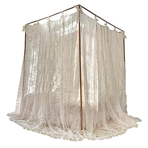Prinsessan vind myggnät, sommar fransk spets golv myggnät, high-end palats stil tre dörr kryptering säng gardin förtjockning,A,180x200cm