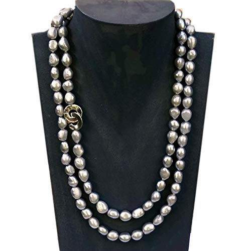Lange Perlenkette südsee-silber Süßwasserperlen hellgrau baroque 925 Sterling Länge 100 cm Collier