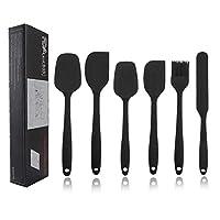 topseas spatole in silicone, set 6 pcs spatola da cucina utensili,resistente al calore antiaderenti utensili da cucina in silicone,set spatola in silicone per cucina pancake pasticceria & flessibile