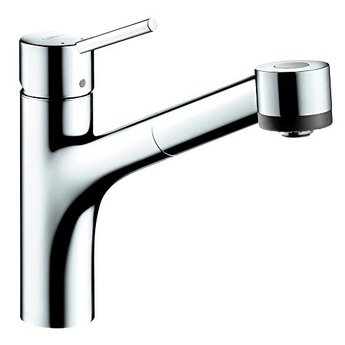 hansgrohe Talis S Easy Install 1-Handle 9-inch Tall Kitchen Faucet with Pull Down Sprayer with QuickClean in Chrome, 06462000,Medium
