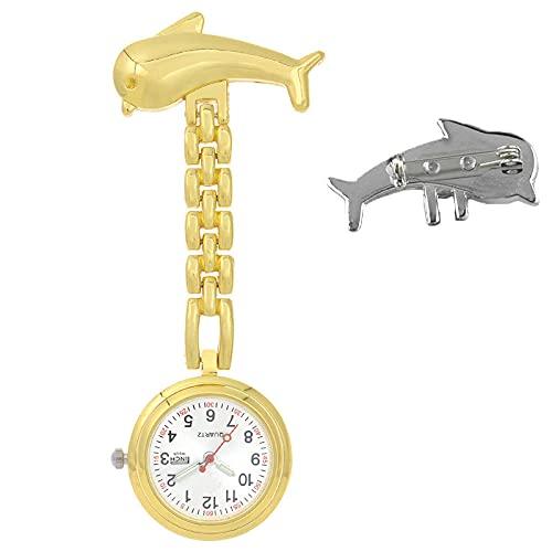 YYMY Regalos para Enfermeras Reloj Bolsillo,Sombreados médicos de aleación a Prueba de Agua, sin Necesidad de una Mesa Colgante de Enfermera Luminosa-Golden 2