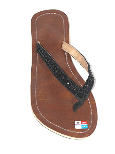 Damen Flip Sandale Simply Black Zehentrenner Zehenpantolette Sommersandale Zehenstegsandale mit schwarzen Perlen und Pailletten