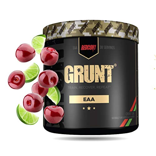 Redcon1 Grunt, All 9 Essential Amino Acid Powder (EAA). Pre and During Workout EAA's Supplement Suitable for Men, Women and Athletes - 30 Servings (Cherry Lime)