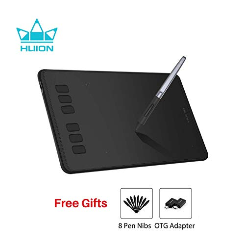 HUION Inspiroy H640P- 2019 Upgrade OTG-Version- 6,3 x 3,9 Zoll Grafiktablett, 8192 Druckstufen, batterielos, 6 benutzerdefinierte Express-Tasten, kompatibel mit Windows/Android/Mac