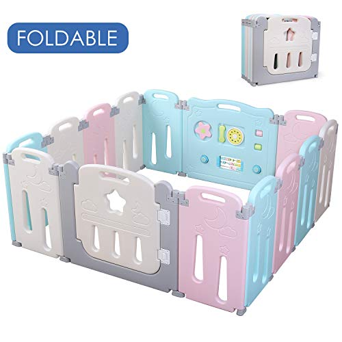 POTBY Foldable Baby Playpen 14 Panel Activity Center Safety Playard with Lock Door,Kid's Fence Indoor Outdoor,Free Installation,Double Layer Clasp and Anti-Slip Base for Children 10 months~6 Years Old