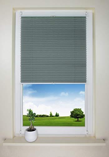 NoSun Plissee Waben Jalousie Faltrollo ohne Bohren Sonnenschutz für Fenster und Tür Anthrazit-Grün B115 cm x H130 cm