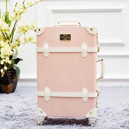 TYJ Pink PU Leather Rolling Luggage Set Spinner Suitcase Wheel Vintage Cabin Trolley Women's Handbag Travel Bag,pink,22'