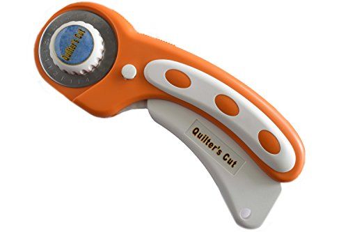 Quilter's Cut Deluxe Rotary Cutter, 45mm Ergonomic Handle Works with All Major Brands (45mm, Pumpkin)