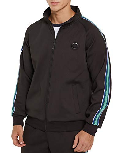 DUOFIER Men Casual Tracksuit Long Sleeve Full-Zip Running Jogging Sports Jacket and Pants, Black-M