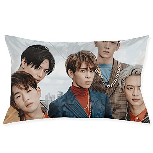 Shinee K-POP - Funda de almohada cuadrada decorativa suave coreana con bridas, fundas de cojín para sala de estar, sofá, dormitorio con cremallera invisible de 50,8 x 76,2 cm