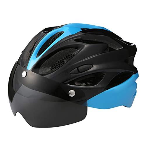 Lespar Casco de Bicicleta, Certificado CE, Casco de Bicicleta con Protector de Visera de Gafas extraíbles, Casco de Bicicleta Protegido Unisex para Ciclismo, patinetas